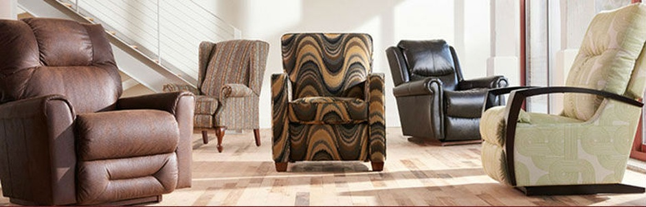 brown solid and pattern recliners
